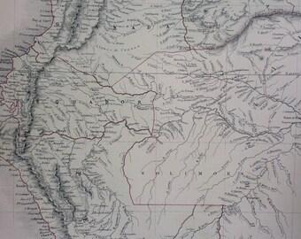1859 Venezuela, New Granada, Ecuador and Peru large rare original antique A & C Black Map - South America - Colombia - Wall Decor