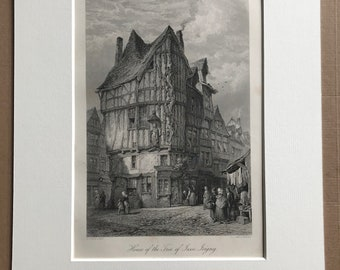 1876 House of the Tree of Jesse, Joigny Original Antique Steel Engraving - Mounted and Matted - France - Available Framed