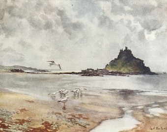 1925 St Michael's Mount Original Antique Print - Cornwall - England - Mounted and Matted - Available Framed