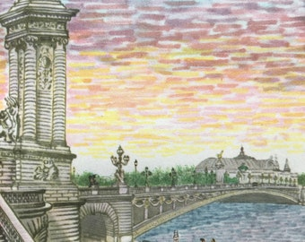 1956 Paris - Sunset over the Pont Alexandre III Original Vintage Chiang Yee Illustration - Mounted and matted - Available Framed
