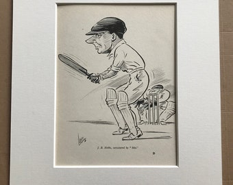 1932 Cricket Player Caricature - Jack B. Hobbs caricatured by Mel Original Vintage Print - Sports Decor - Available Framed