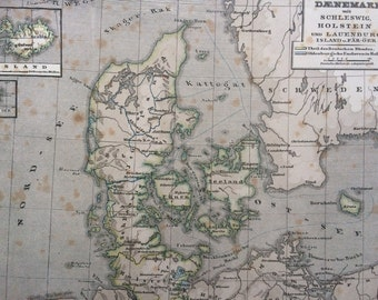 1861 Denmark and Schleswig Holstein Original Antique Hand-Coloured Engraved Map - E.Von Sydow German Atlas - Available Mounted and Matted