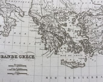 1822 Grande Grece Original Antique Engraved Ancient History Map - Fine Detail - Greece - Mounted and Matted - Magna Graecia - Framed