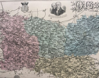1890 Oise Large Original Antique Map - Department of France - Inset Steel Engravings of Beauvais and Local Dignitary Portraits