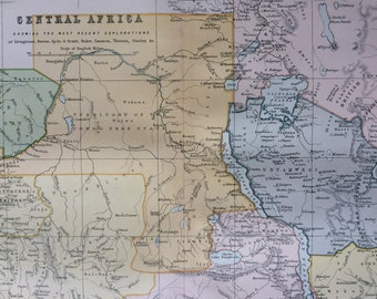1891 Central Africa Original Antique Map showing the most recent explorations - Available Mounted and Matted - 12 x 16 Inches - Gift Idea