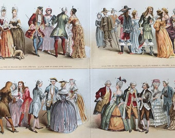1900 Costume in England Original Antique Print - Available Mounted and Matted - Historical Fashion