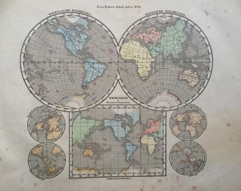 1861 Original Antique Hand-Coloured Engraved World Map - Hemispheres - E.Von Sydow German Atlas - Wall Decor - World Map - Home Decor