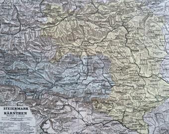 1880 AUSTRIA (Styria & Carinthia) original antique map, cartography, geography, wall decor, home decor