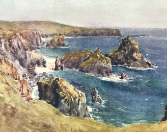 1925 Kynance Cove Original Antique Print - Cornwall - England - Mounted and Matted - Available Framed