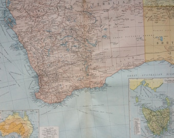1920 Australia (Southwest) Extra Large Original Antique Map with inset maps of Tasmania and Rainfall and Temperature - Cartography