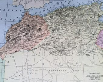 1901 MOROCCO, ALGERIA & TUNISIA Original Antique Map, 11 x 14.5 inches, Home Decor, Cartography, Geography, Vintage Decor