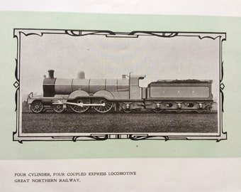 1902 Four Cylinder Four Coupled Express Locomotive - Great Northern Railway Original Antique Print - Mounted and Matted - Available Framed