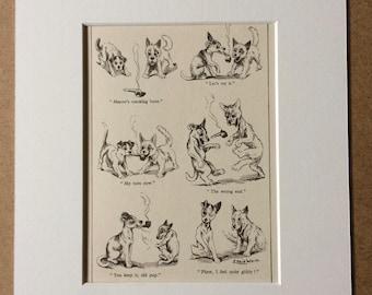 1943 Original Vintage Dog Cartoon - Whimsical Wall Art - Funny Humorous Print - Dog Lover Gift - Louis Wain - Puppy illustration