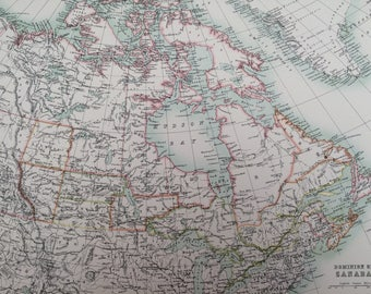 1898 Dominion of Canada Large Original Antique A & C Black Map - Canadian History- Victorian Wall Decor - Wedding Gift Idea