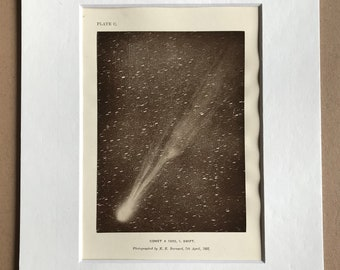1913 Comet A 1892, Swift Original Antique Print - Astronomy - Stars - Celestial - Mounted and Matted - Available Framed
