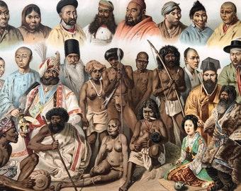 1904 Original Antique Lithograph - Asian Races - Human Races - Anthropology - Chinese Singalese, Ostiak, Kalmuk, Toda - Victorian Wall Decor