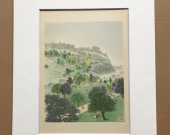 1948 Edinburgh - The Castle in the Summer Haze Original Vintage Chiang Yee Illustration - Mounted and matted - Available Framed