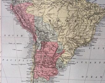 1875 SOUTH AMERICA large original antique map, cartography, geography, wall decor, home decor, encyclopaedia britannica