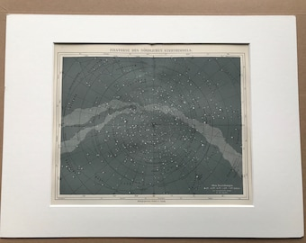 1875 Northern Hemisphere Stars Large Original Antique print - Available Mounted and Matted - Star Map - Astronomy - Constellations
