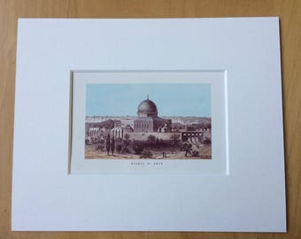 1870 Mosque of Omar Original Antique Lithograph - Mounted and Matted - Available Framed - Palestine - Israel - Jerusalem - Decorative Art