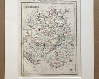 1845 Shropshire Original Antique Hand-Coloured Engraved Map - UK County Map - Available Framed - England