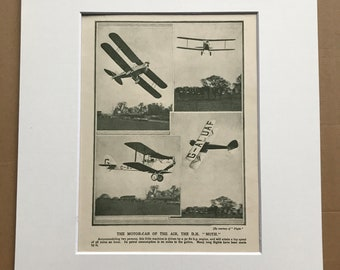 1927 The DH Moth - Motor Car of the Air Original Vintage Print - Aircraft - Airplane - Mounted and Matted - Available Framed