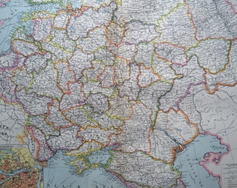 1903 Central & South Russia Large Original Antique Map, 15.5 x 20.5 inches, Harmsworth map