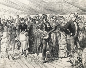 1883 Fancy-Dress Ball onboard H.M. Troop-Ship Serapis Original Antique Print - Mounted and Matted - Available Framed - Victorian Decor