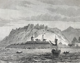 1877 The Defences of the Bosphorus - Fortress of Anadolou Kavak, Asiatic Side Original Antique Engraving