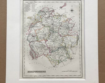 1845 Herefordshire Original Antique Hand-Coloured Engraved Map - UK County Map - Decorative Art - Cartography - Wall Decor - England