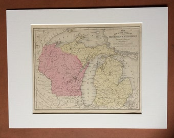 1855 Michigan and Wisconsin Original Antique hand coloured Map - United States - USA - Available Mounted and Matted