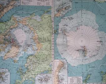 1903 POLAR REGIONS Large Original Antique Map, 15.5 x 20.5 inches, Harmsworth map, South North Pole, Polar Exploration, Antarctica, Arctic