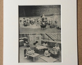 1940s Children Playing at Nursery Original Vintage Print - Mounted and Matted - Child - Children - Available Framed