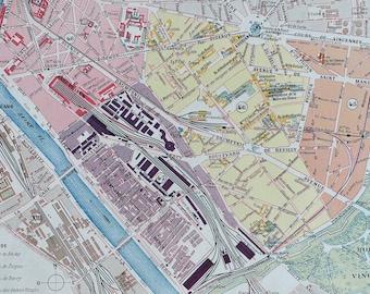 1898 Paris - Douzieme Arrondissement Original Antique Map - France - Parisian Decor - City Plan - Mounted and Matted - Available Framed