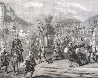 1858 The Entry of Lord Elgin into the city of Jeddo Original Antique Engraving - Tokyo - Japan - British Diplomat - History  Victorian Decor