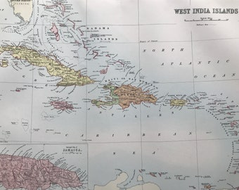1876 West India Islands Large Original Antique A & C Black Map with inset map of Jamaica - Caribbean - Large Wall Map - Wall Decor