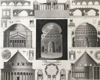 1849 Roman Architecture Large Original Antique Engraving - Mounted and Matted - Available Framed - Roman Statue - Victorian Decor