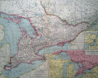 1903 Upper Canada & The St Lawrence Large Original Antique Map with insets maps of the Great Lakes and Montreal, Harmsworth map