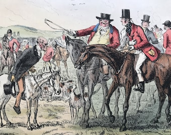 1858 Mr Jorrocks - Fox Hunt Original Antique 'Ask Mamma' Illustration - Victorian Decor - Mounted and Matted - Available Framed