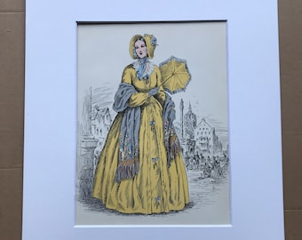 1949 Original Vintage Fashion Illustration - 1841-42 - The Pursuit of Fashion - Mounted and Matted - Available Framed