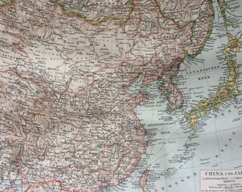 1894 China and Japan Original Antique Map - Korea, Chinese Empire, Japanese Empire -  Available Mounted and Matted - Vintage Map