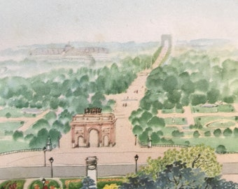 1956 Paris - Champs Elysees from the Musee du Louvre Original Vintage Chiang Yee Illustration - Mounted and matted - Available Framed