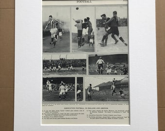 1951 Association Football in England and America Original Vintage Print - Soccer - Sports Decor - Mounted and Matted - Available Framed