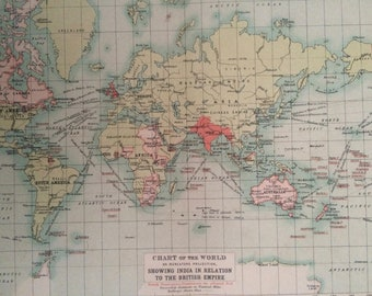 1908 Chart of the World on mercator's Projection showing India in relation to the British Empire Original Antique Map - Available Framed
