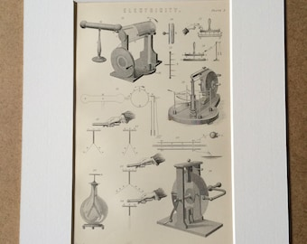 1891 Electricity Original Antique Encyclopaedia Illustration - Science - Physics - Diagram - Available Mounted, Matted and Framed