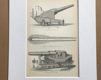 1891 Artillery - Armstrong 100 Ton Gun and Woolwich 81 Ton Gun Original Antique Print - Military - Available Mounted, Matted and Framed