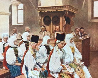 1940s At Church in a Transylvanian Village Original Vintage Print - Romania - Christianity - Mounted and Matted - Available Framed