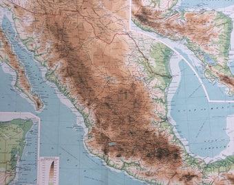 1922 MEXICO & CENTRAL AMERICA Large Original Antique Times Atlas Physical Map - Nicaragua - Honduras - Guatemala - El Salvador - Costa Rica