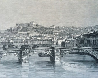 1895 Verona Original Antique Engraving - Mounted and Matted - Italy - River Scene - Available Framed