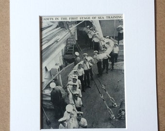 1940s Cadets in the first stage of sea training Original Vintage Print - Mounted and Matted - Royal Navy Cadet - Available Framed